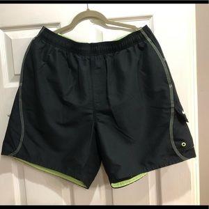 Mens Nike black and neon green swim trunks size XL